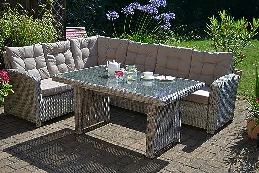 Bomey - Juego de muebles para jardín (sofá de 6 plazas y mesa, de polirratán): Amazon.es: Jardín