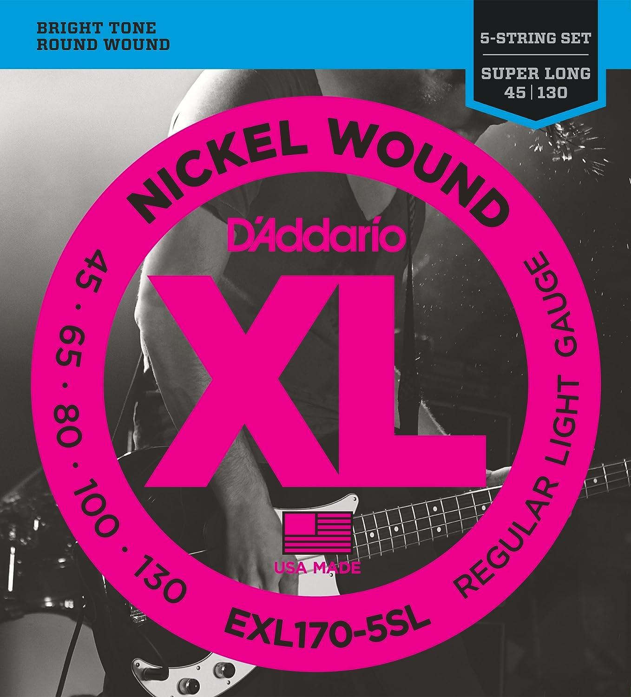 DAddario EXL170-5SL - Juego de cuerdas para bajo de níquel, 045 - 130: Amazon.es: Instrumentos musicales