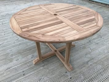 dorchester solid teak 12m 4ft round cross leg garden table 4