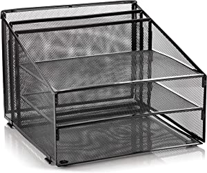 Metal Office Desk Organizer 3-Tier, Mesh Desktop Document and A4 File Holder with 3 Flat Trays and 2 Upright Compartments, Steel Mail Organizer for Desk Top Accessories, Stationery, Paper, Black