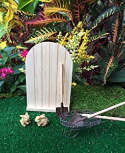 Nautical Crush Trading Fairy Garden Miniature Kit | Fairies and Enchanted Furniture supplies | 7 piece set | Mini Rustic Cart, Mini Wood Door, Mini Garden Tools and 2 Mini Rabbits |