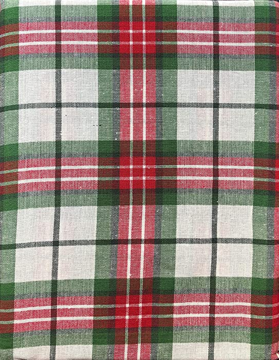 Ridgefield Home Fabric Cotton Christmas Holiday Scottish Plaid Tartan Pattern Tablecloth Set Napkins Shades Red White Green 60 Inches 84 Inches