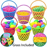 "6 Pieces 8"" Easter Egg Baskets with Handle and 55 g Tricolors Easter Grass for Easter Theme Garden Party Favors, Easter Eggs Hunt, Easter Goodies Goody, Basket Fillers Stuffers by Joyin Toy."