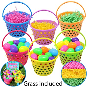 Amazon 6 pieces 8 easter egg baskets with handle and 55 g 6 pieces 8quot easter egg baskets with handle and 55 g tricolors easter grass for negle Image collections