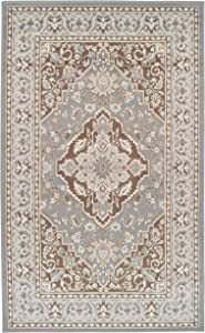 SUPERIOR Glendale Collection Area Rug - Traditional Brown Oriental Rug, 8 mm Pile, Jute Backing Floor Rug, Grey, 4' x 6'