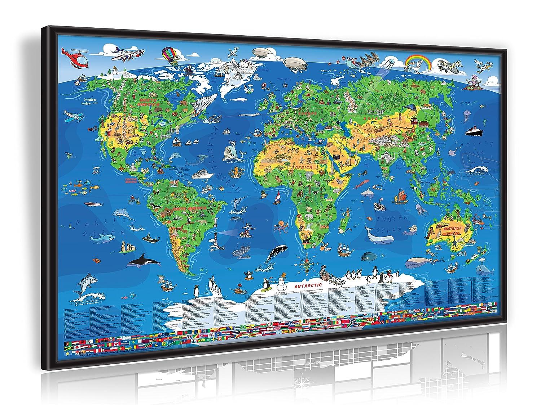 Amazon.de: geosmile Pinnwand Kinder Weltkarte 90x60 cm mit Echt-Holz ...