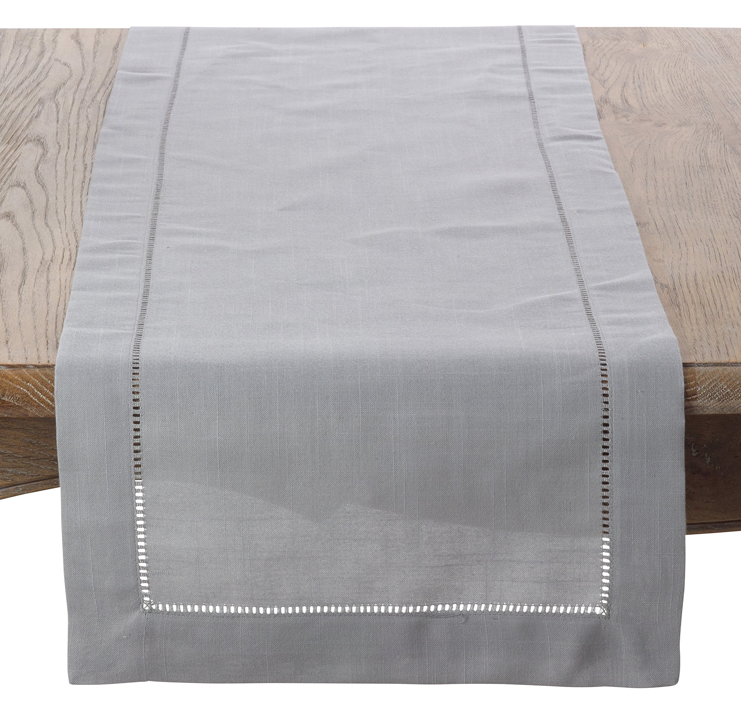 SARO LIFESTYLE Classic Hemstitiched Border Table Runner, 16'' x 120'', Grey