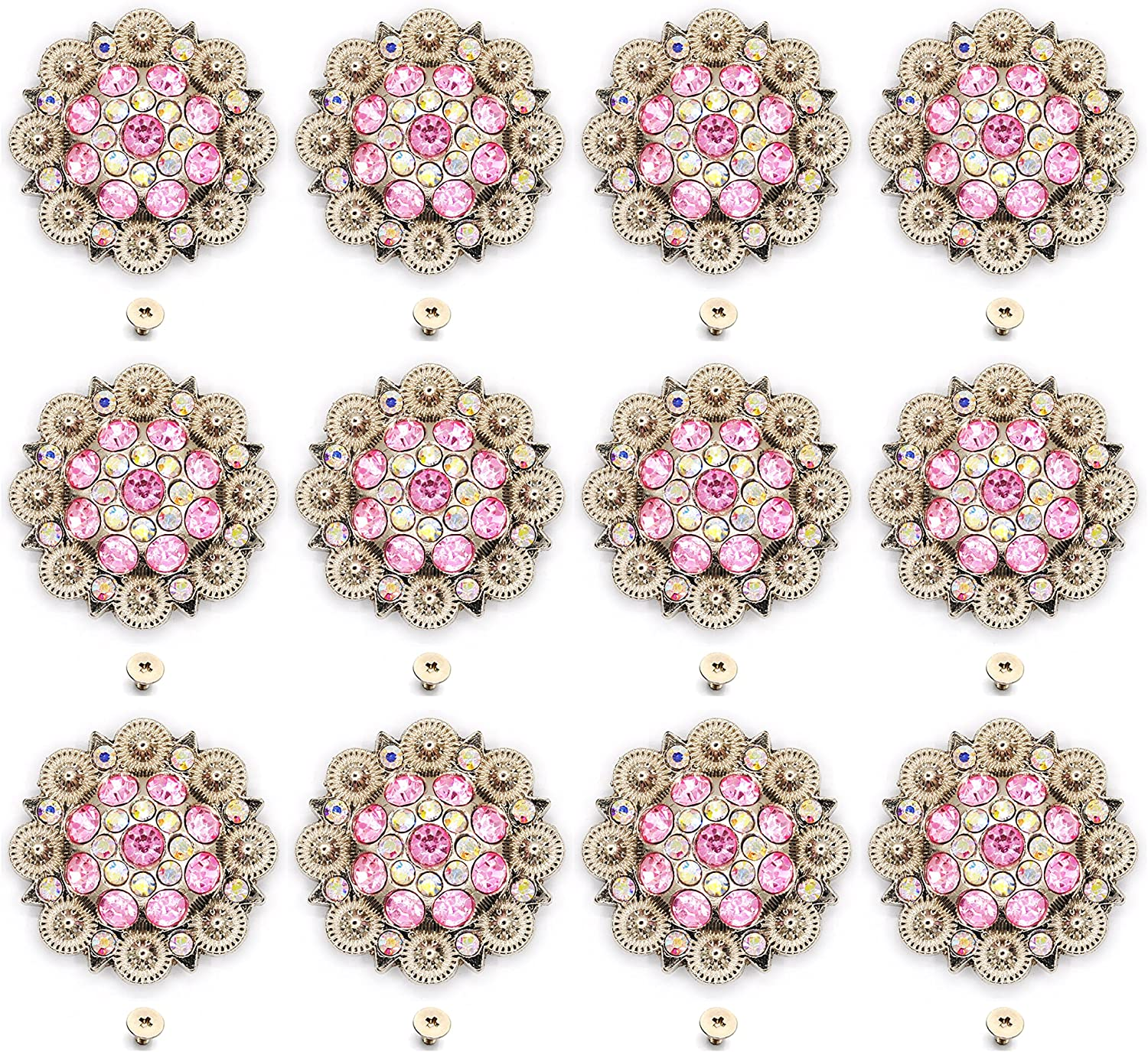 Berry Conchos with Screws Metal Flower Rhinestone Conchos 12 Pieces