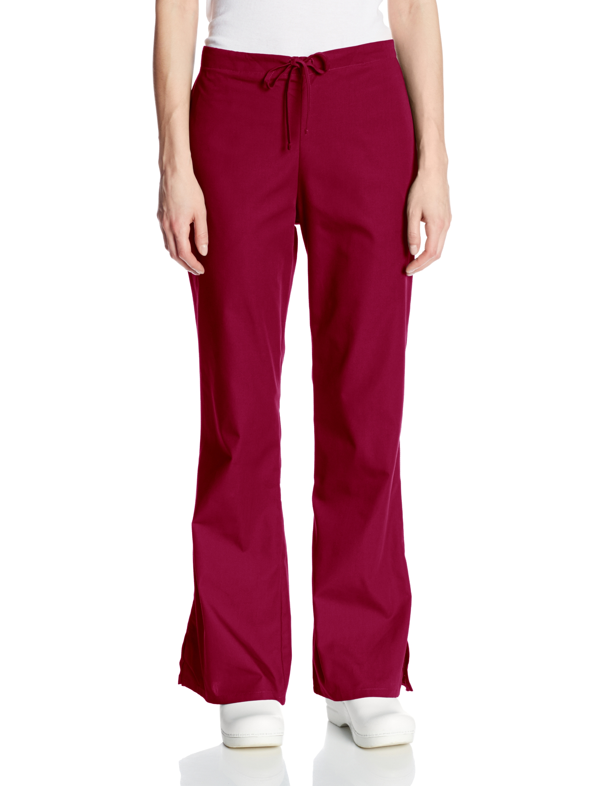 Cherokee Women's Fashionable Flare Leg Drawstring Pant, Wine, 2X-Large-Petite