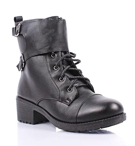 New Adjustable Buckle Synthetic Leather Lace up Cuban Ankle-high Low Heels  Womens Combat Boots ba39e5cef