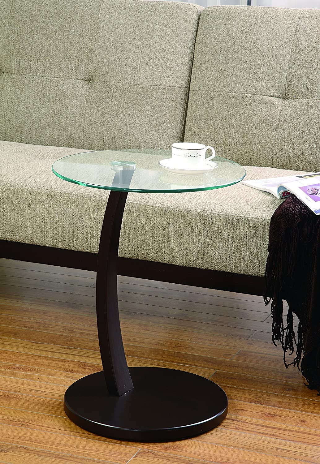 Coaster 900256 Round Accent Table with Glass Top & Cappuccino Base