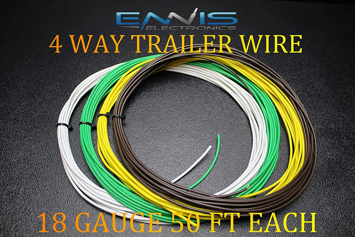 18 GAUGE WIRE WHITE GREEN RED BLACK  PRIMARY AWG STRANDED COPPER POWER 100 FT EA