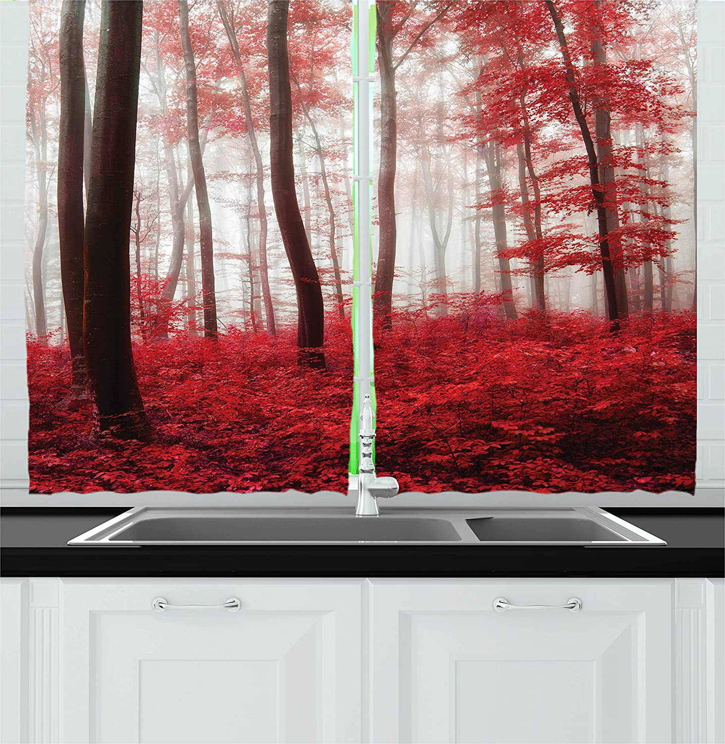 Lake House Decor Kitchen Curtains by Ambesonne, Saturated Picture of Dreamy Mystic Forest with Vivid Effects Mother Earth, Window Drapes 2 Panels Set for Kitchen Cafe, 55W X 39L Inches, Red White