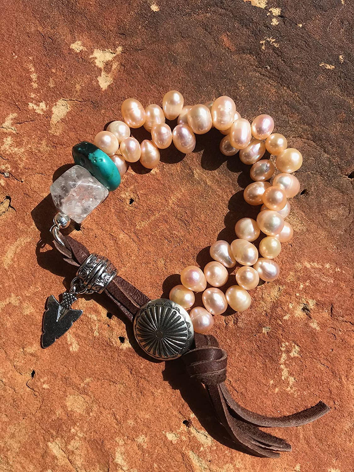 Amazon Western Concho Bracelet Pearl And Turquoise