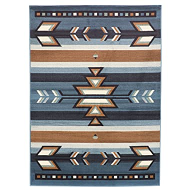 Rugs 4 Less Collection Southwest Native American Indian Area Rug Design in Light Blue SW1 (5'x7')