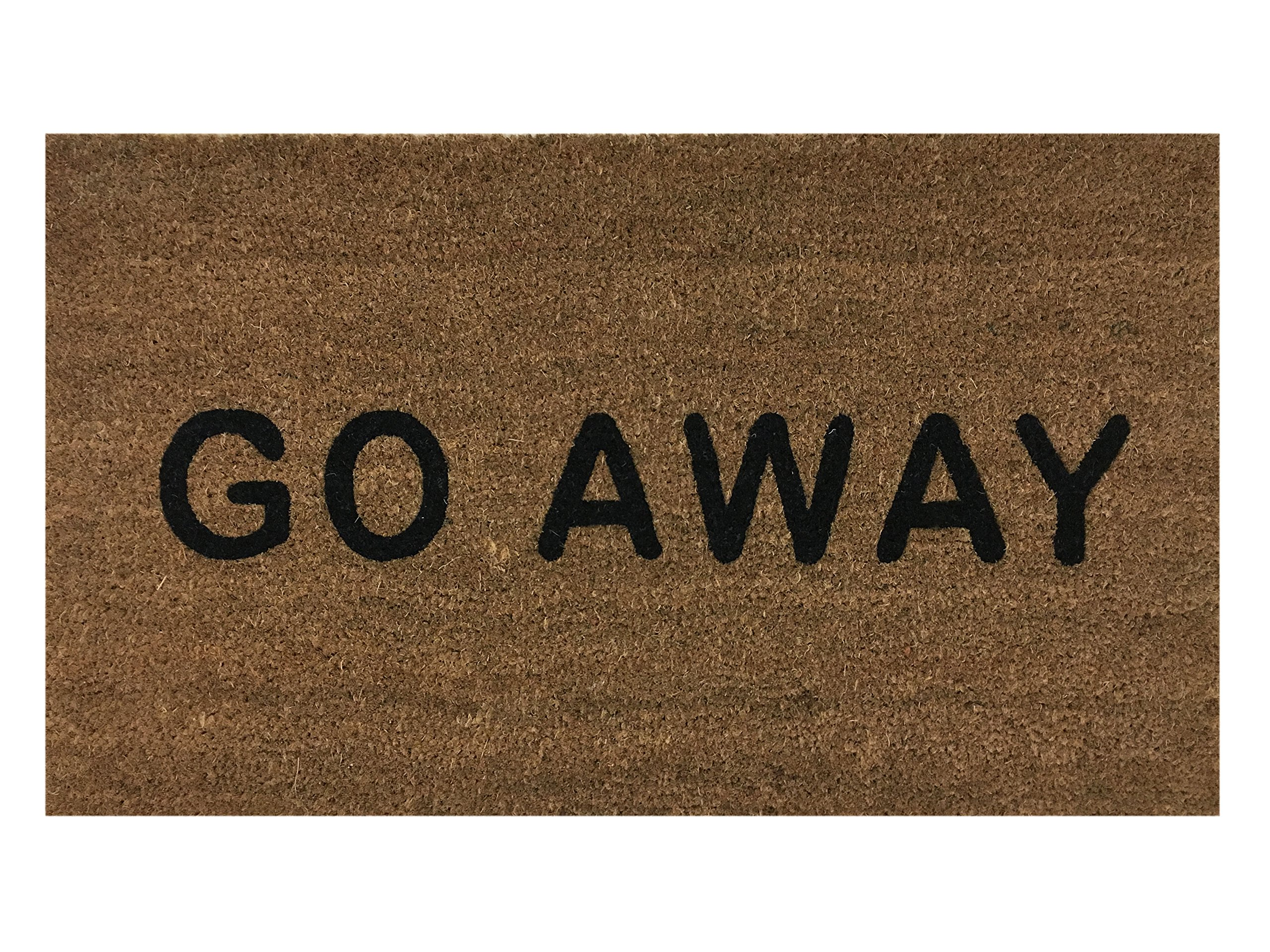 ''Go Away'' Doormat by Castle Mats, Size 18 x 30 inches, Non-Slip, Durable, Made Using Odor-Free Natural Fibers