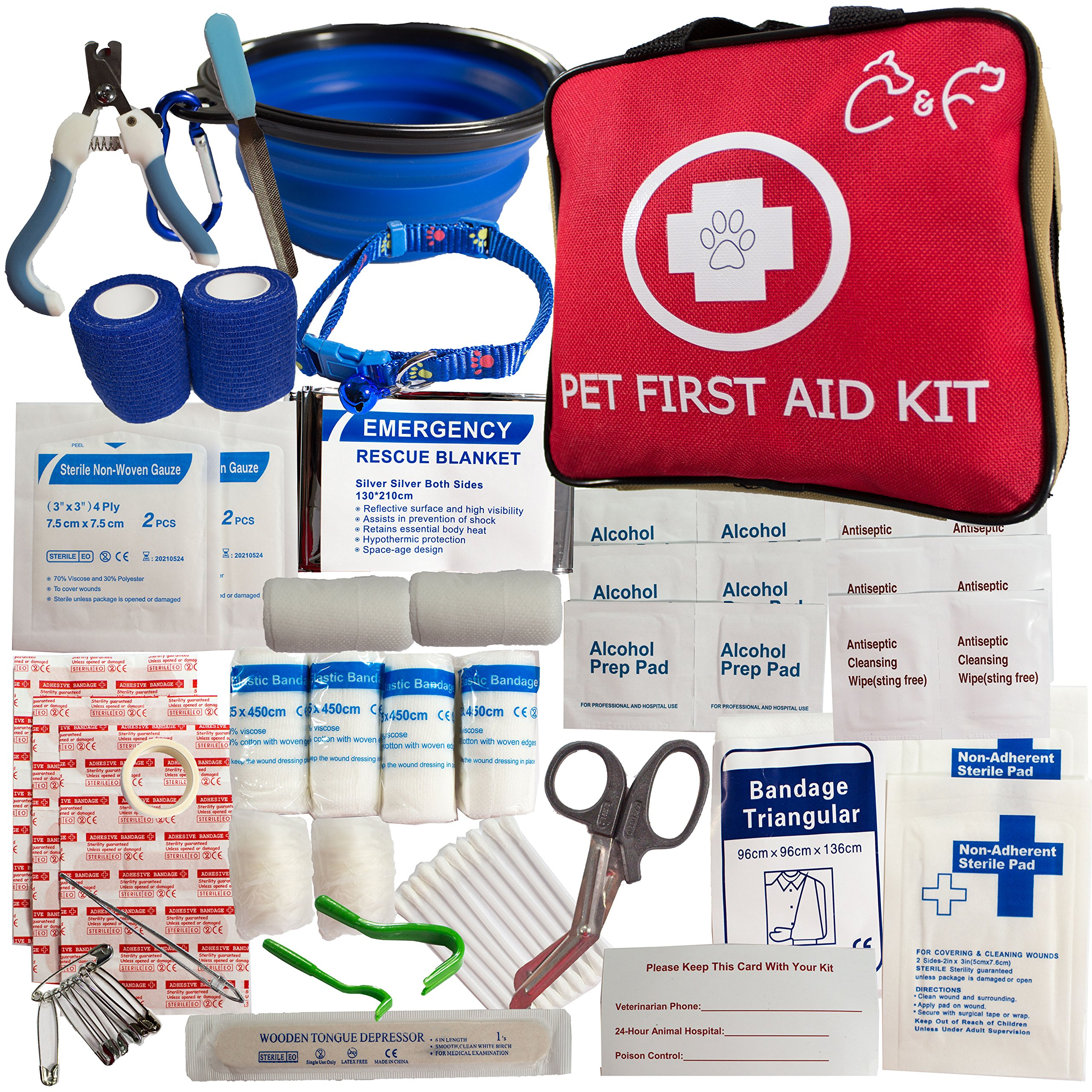 Pet First Aid Kit-Emergency Supplies for Travel, Walks, Camping, Hiking Or Just Fun at The Park. Includes Pet Nail Trimmer/Tick Remover/Pet Bowl/Pet Collar/Vet Wrap Fur Friendly Bandages