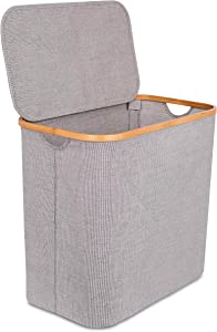 BIRDROCK HOME Bamboo & Canvas Hamper - Single Laundry Basket with Lid - Modern Foldable Hamper - Cut Out Handles - Grey Narrow Design - Great for Kids Adults