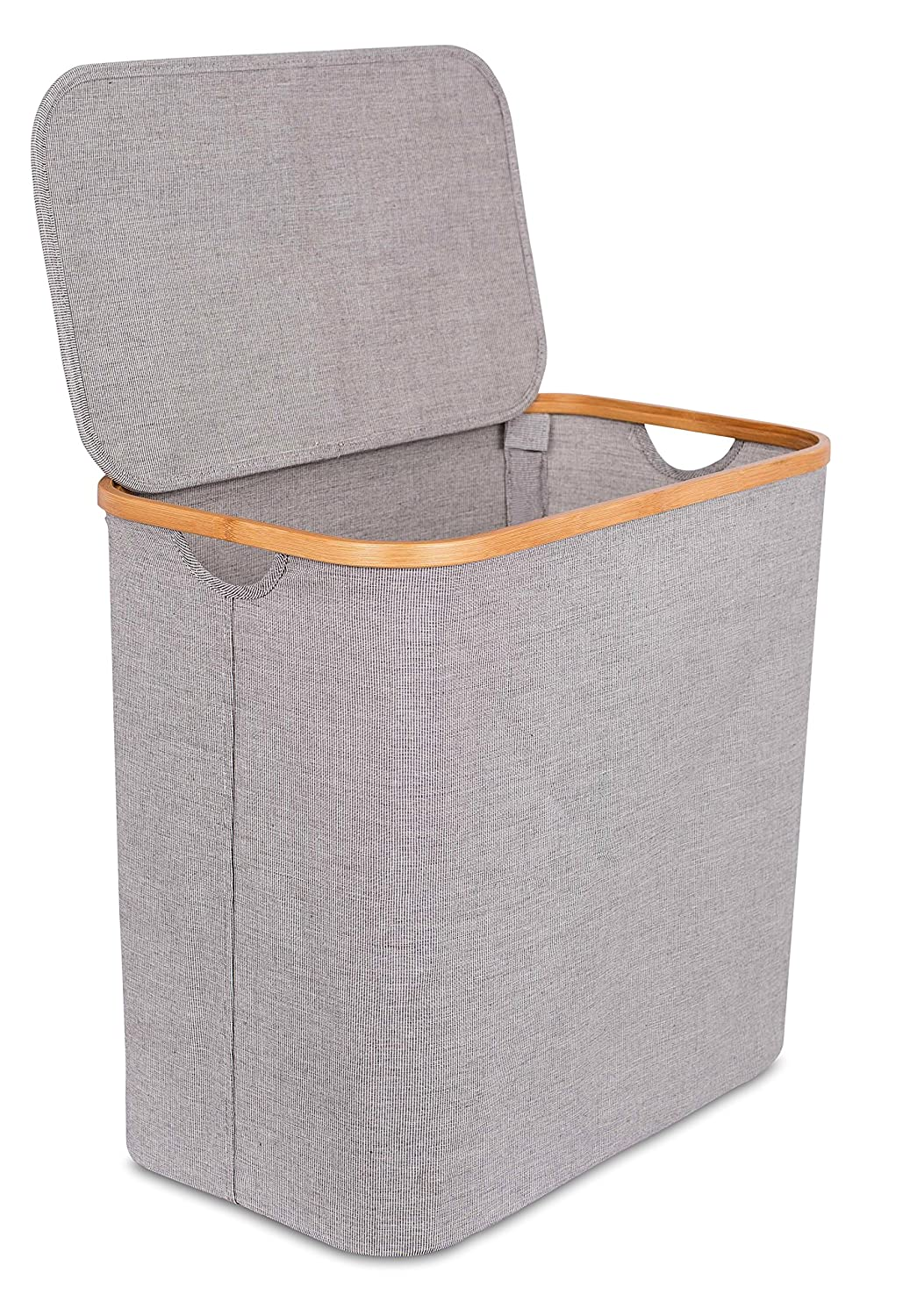 BirdRock Home Divided Bamboo & Canvas Hamper | Double Laundry Basket with Lid | Modern 2 Section Foldable Hamper | Cut Out Handles | Grey Narrow Design | Great for Kids Adults 10449