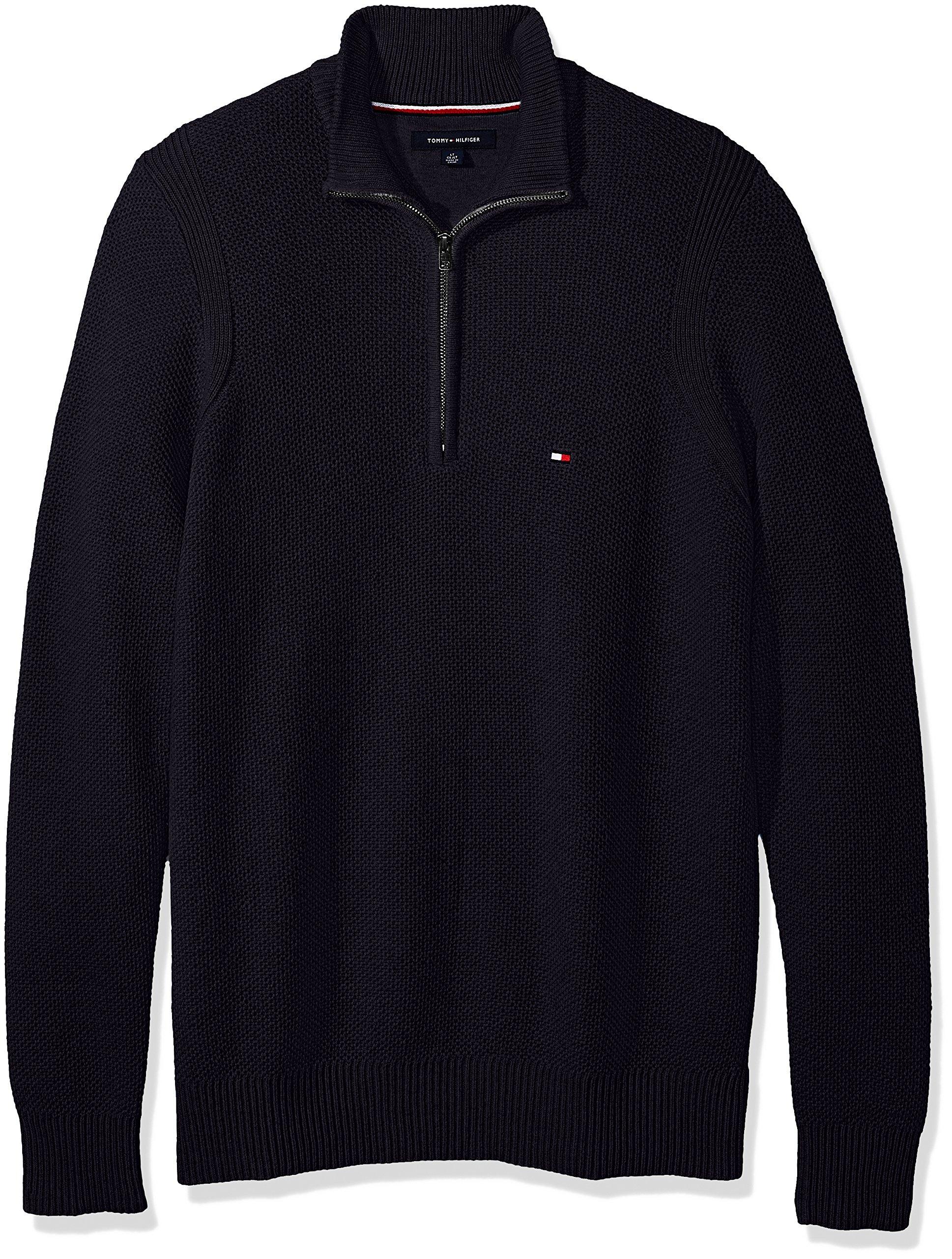 Tommy Hilfiger Men's Big and Tall 1/4 Zip Pullover Sweater, Midnight, BG-2XL