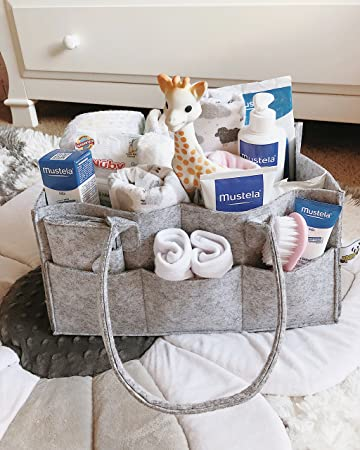 Baby Diaper Caddy Organizer   Bonus Card Holder   Nursery Storage Bin For  Diapers, Wipes