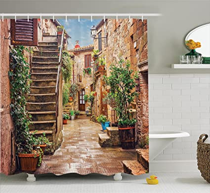 Ambesonne Tuscan Decor Shower Curtain View Of An Old Mediterranean Street With Stone Rock Houses