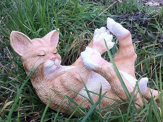 Fun – Figura decorativa de resina gato adorno de jardín Estatua para uso interior y exterior: Amazon.es: Jardín