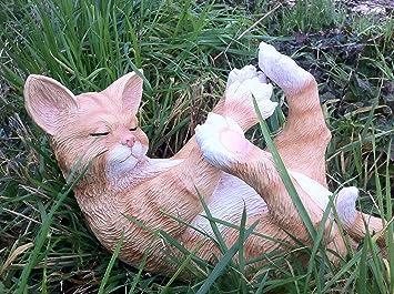 Fun - Figura decorativa de resina gato adorno de jardín Estatua para uso interior y exterior: Amazon.es: Jardín