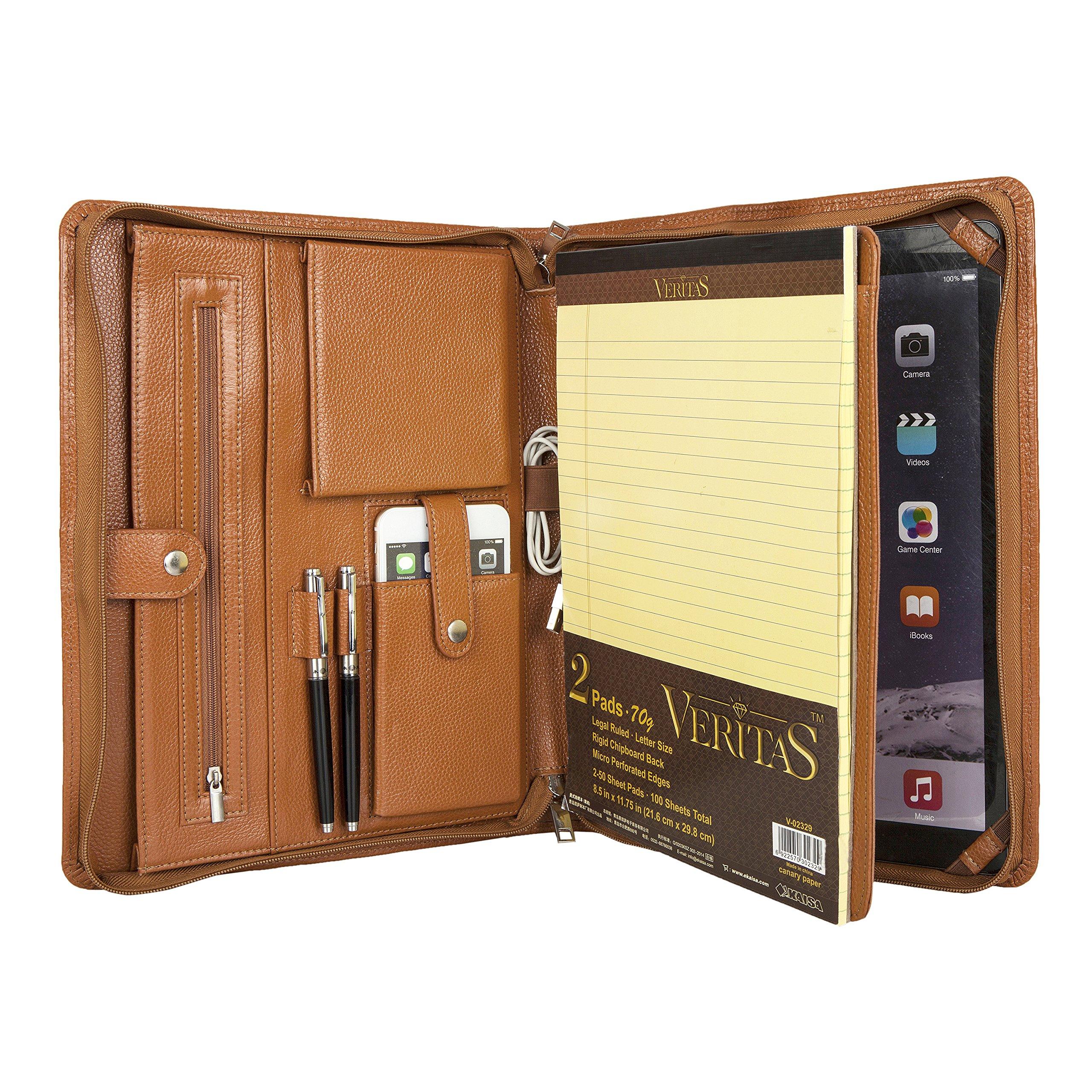 Brown Genuine Leather Litchi Grain Luxury Office Portfolio with Zipper for Custom