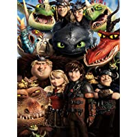 DIY 5D Diamond Painting by Number Kits, Painting Cross Stitch Full Drill Crystal Rhinestone Embroidery Pictures Arts Craft for Home Wall Decor Gift (16x12in) How to Train Your Dragon Family