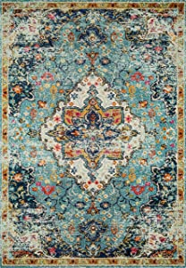 """Loloi II Nadia Collection Vintage Distressed Persian Area Rug 2'-2"""" x 8' Runner Blue/Midnight"""