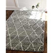 Unique Loom Rabat Shag Collection Geometric Trellis Beni Ourain Plush Gray Area Rug (5' x 8')