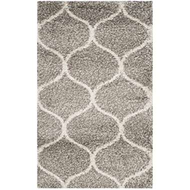 Safavieh Hudson Shag Collection SGH280B Grey and Ivory Moroccan Ogee Plush Area Rug (3' x 5')