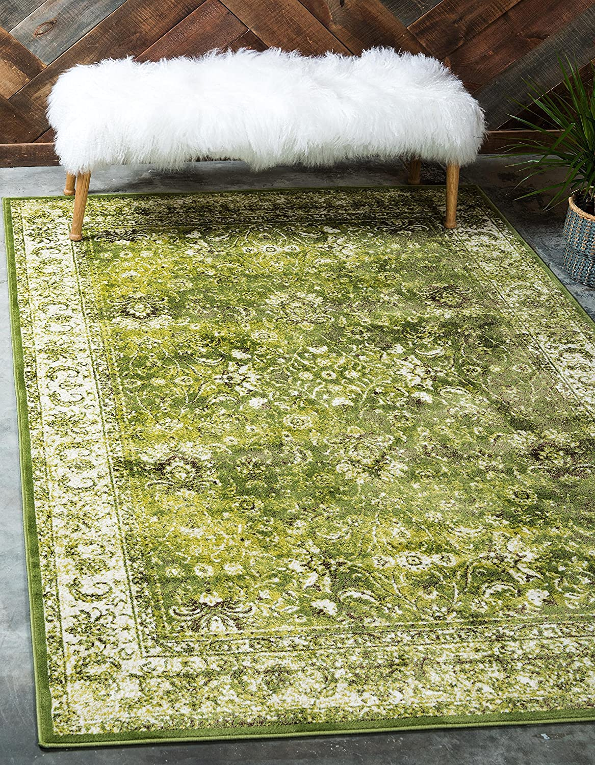 Unique Loom Imperial Collection Modern Traditional Vintage Distressed Green Area Rug (4' 0 x 6' 0)