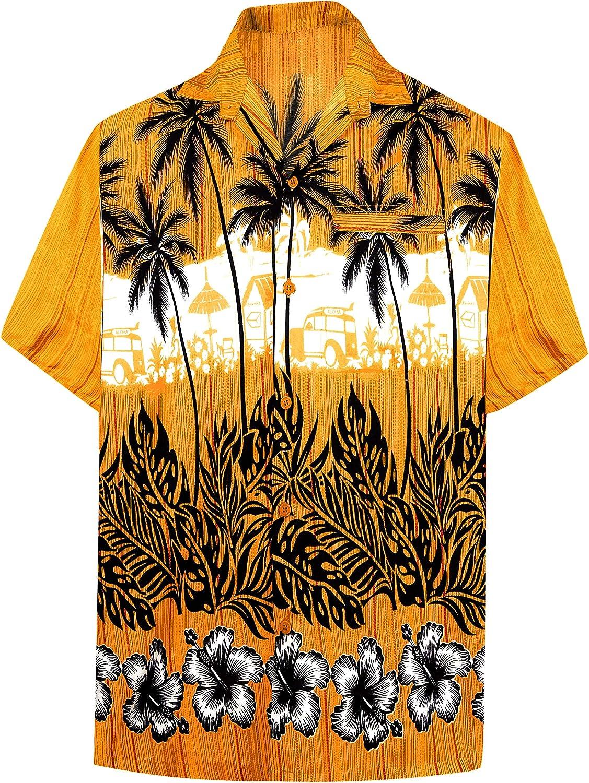 LA LEELA Men's Swim Casual Short Sleeve Aloha Hawaiian Shirt