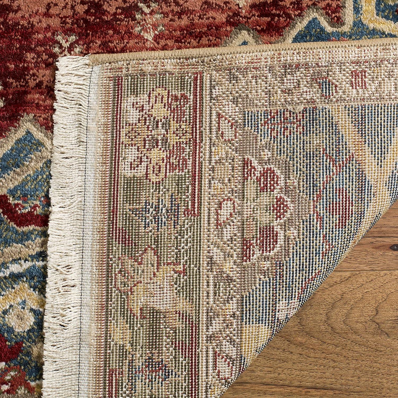 Safavieh Kashan Collection KSN300B Traditional Ivory and Blue Area Rug 26 x 8