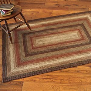 Gingerbread Premium Jute Braided Area Rug by Homespice, 20 x 30 Rectangular Brown, Deep Red, Reversible, Natural Jute Yarn Rustic, Country, Primitive, Farmhouse Style - 30 Day Risk Free Purchase