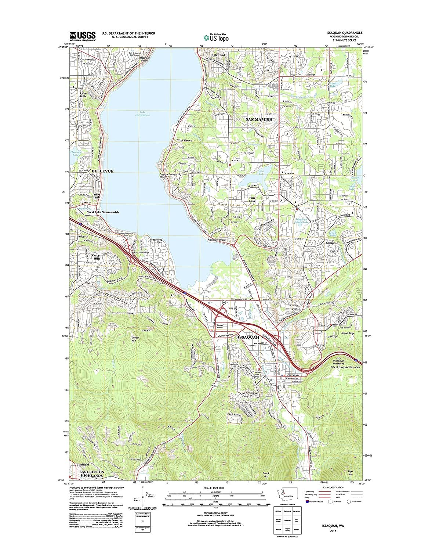 Amazon Com Topographic Map Poster Issaquah Wa Tnm Geopdf 7 5x7 5
