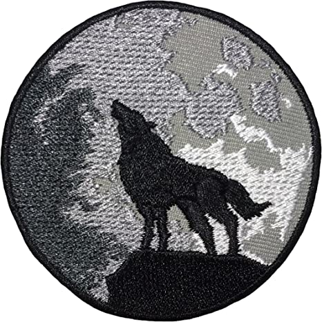 Nature Themed Round Patch Black and White Patch Mountain Patch Wolf Howling at the Moon Patch