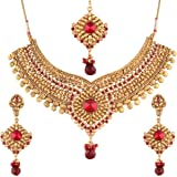 I Jewels Choker Style Gold Plated Jewellery Set for Women (M4071R)