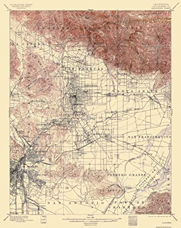 Topographical Map Print - Pasadena California Quad - USGS 1900 - 17 x 21.38 - Glossy