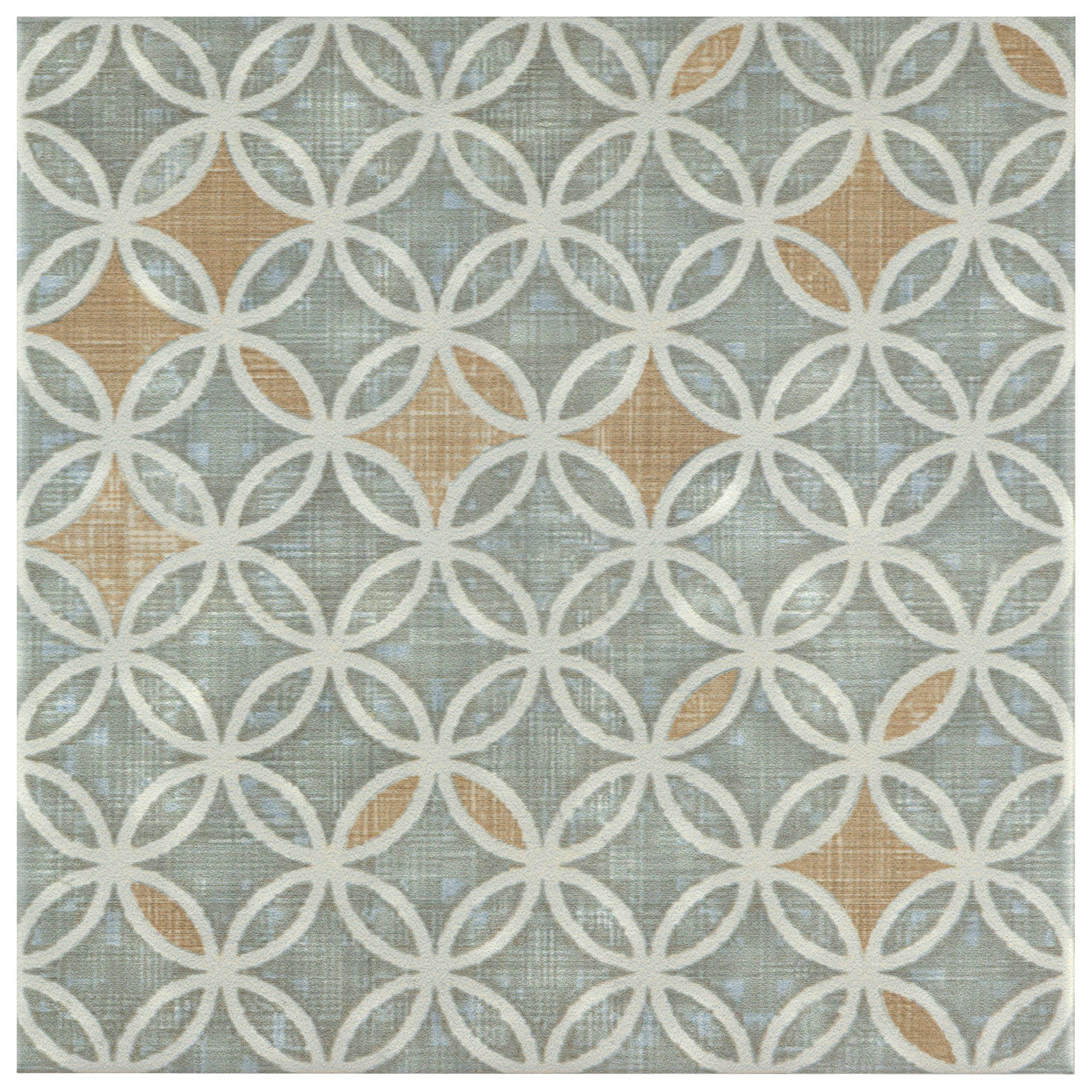 SomerTile FRC8BOHF Turin Ceramic Floor and Wall Tile, 7.75'' x 7.75'', Beige/Brown/Blue SomerTile FRC8BOHF Turin Ceramic Floor and Wall Tile, 7.75'' x 7.75'', Full, Beige/Brown/Blue