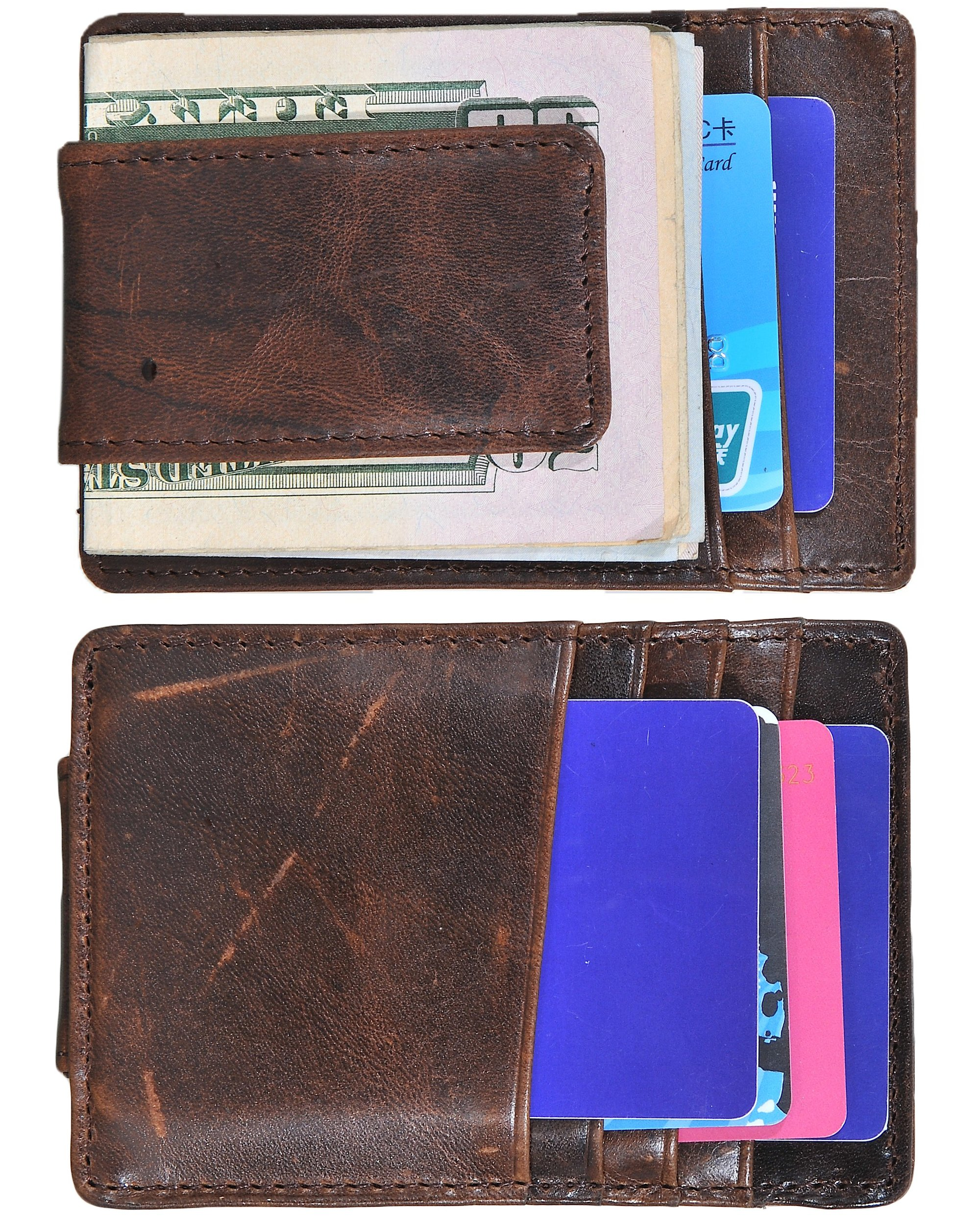 Mens Money Clip Wallet RFID Slim Wallet Genuine Leather Thin Front Pocket Wallet (Coffee (Oil Wax Leather))