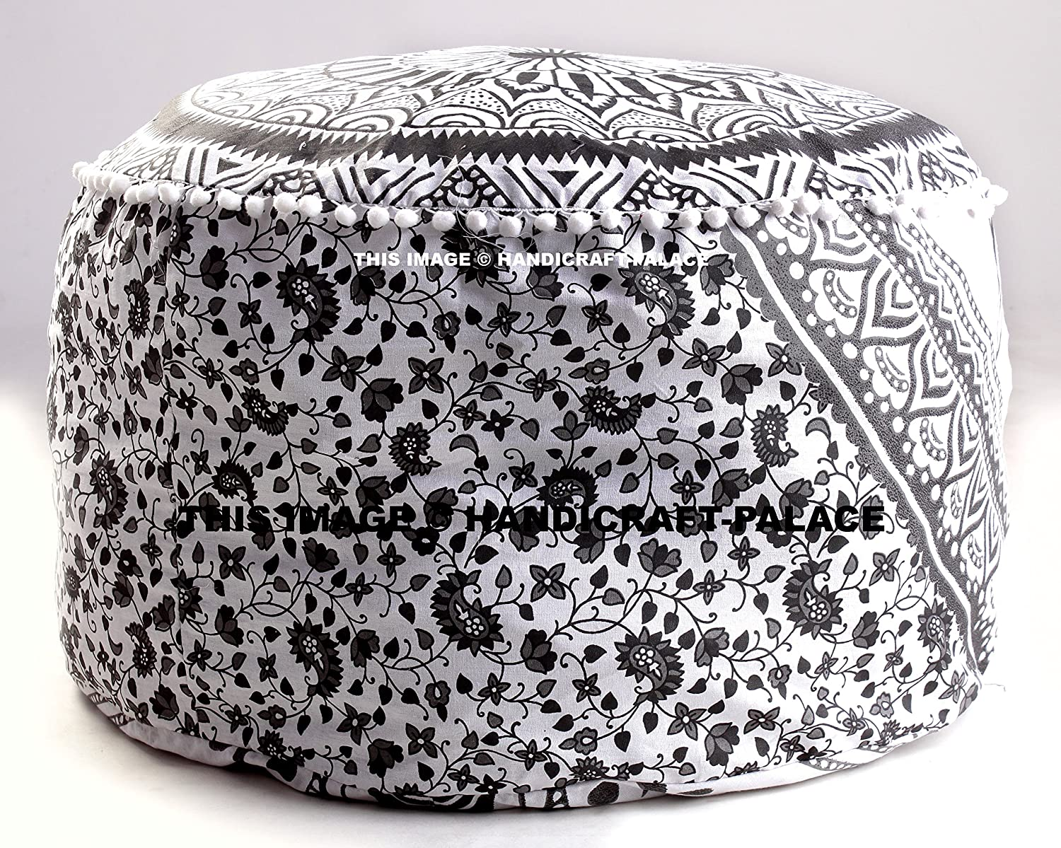 Amazing Amazon.com: Large Bohemian Pouf Ottoman Mandala Footstool Round Floor  Pillow Ottoman Living Room Indian Pouf Cover Throw 24 Pictures Gallery