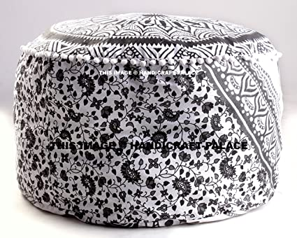 Large Bohemian Pouf Ottoman Mandala Footstool Round Floor Pillow Ottoman Living  Room Indian Pouf Cover Throw