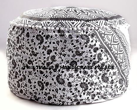 Amazon Large Bohemian Pouf Ottoman Mandala Footstool Round Best How To Make A Round Pouf Ottoman