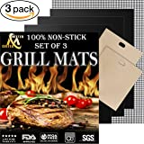 Professional Grill Mat - Set of 3 Non-Stick Grill Mats for BBQ Grilling and Baking - Heavy Duty Best for Cooking on Charcoal, Gas, Oven, Smoker, Electric Grills - Reusable and Easy to Clean