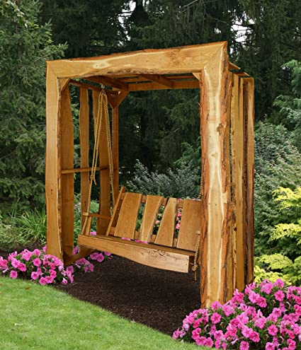 PERGOLA ARBOR WITH SWING, Rustic Outdoor Furniture, Live Edge Wood Canopy,  Amish Made