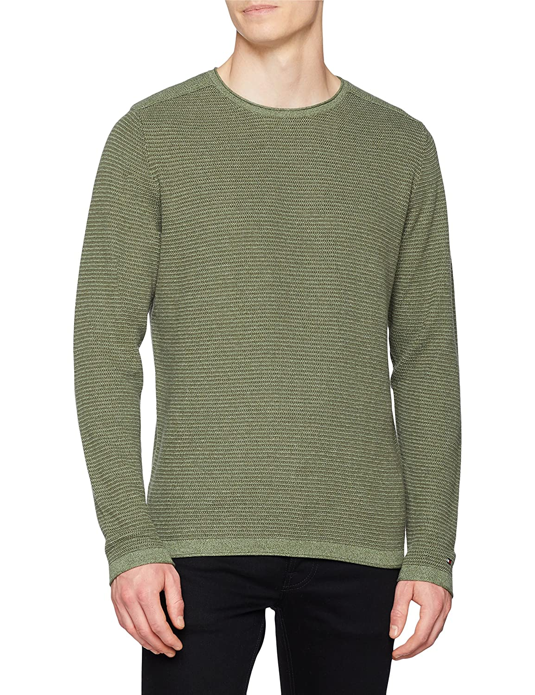 TALLA M. Tommy Hilfiger Textured Denim Look Sweater suéter para Hombre