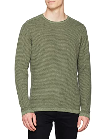 b49d2c5d5600 Tommy Hilfiger Men s Textured Denim Look Sweater Jumper  Amazon.co ...